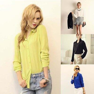 Women Lapel Collar Button Chiffon Long Sleeve Shirt Blouse Top 4 Color Pop