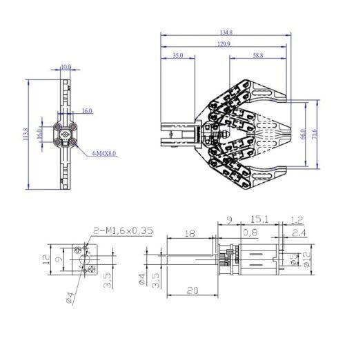 Robot Gripper Arduino Robotic Arm//Hand//Claw Arduino 5V 12V DC Electric w//Motor