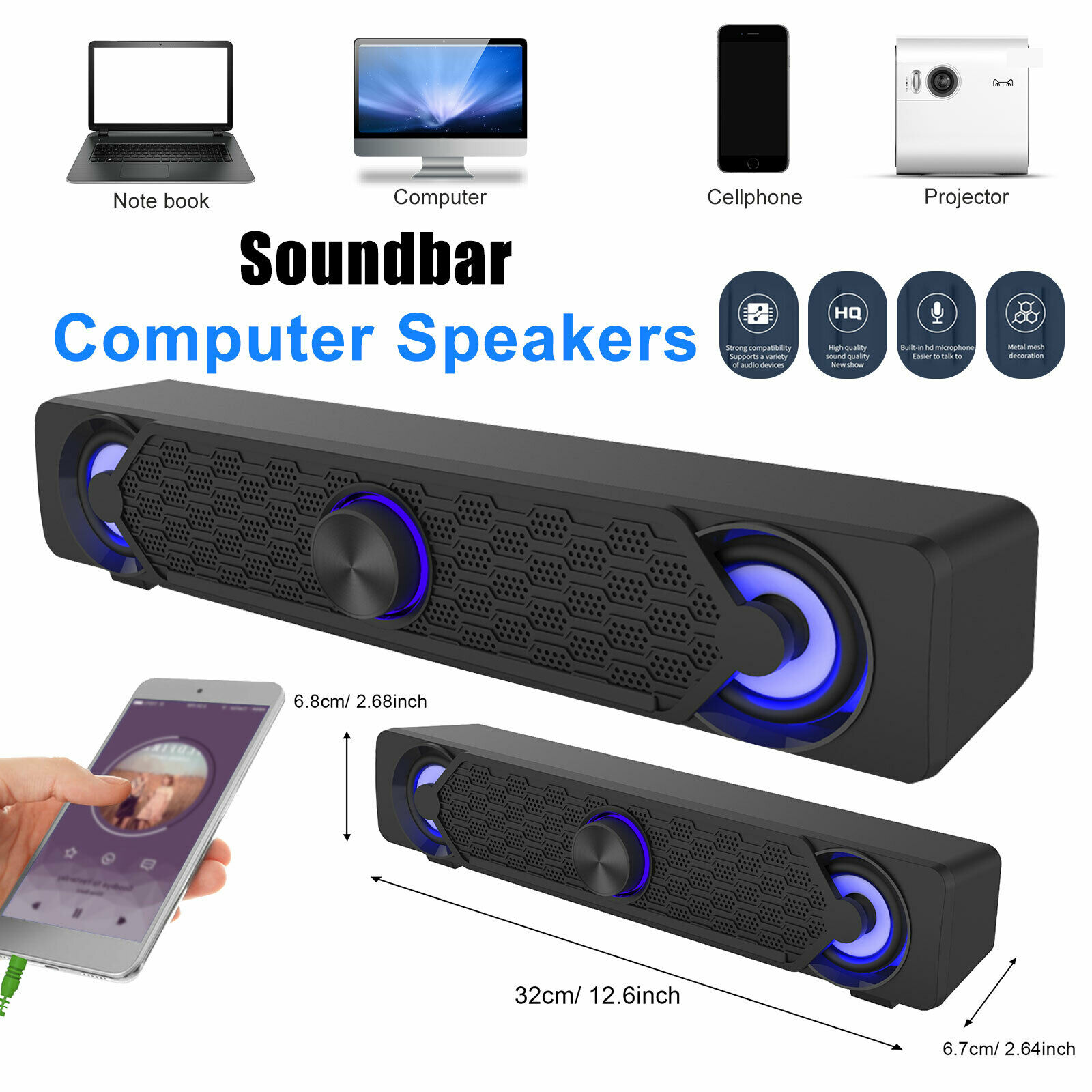 Stereo Sound Bar USB Powered LED Computer Speaker 3.5mm For PC Desktop Laptop. Buy it now for 29.48