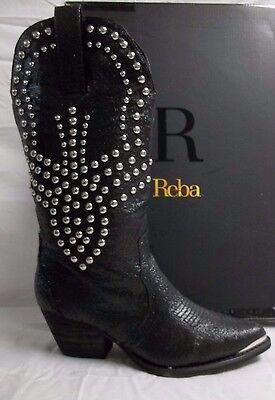 Reba Size 8 M Biker Black Leather Mid Calf Cowboy Boots New Womens Shoes NWOB