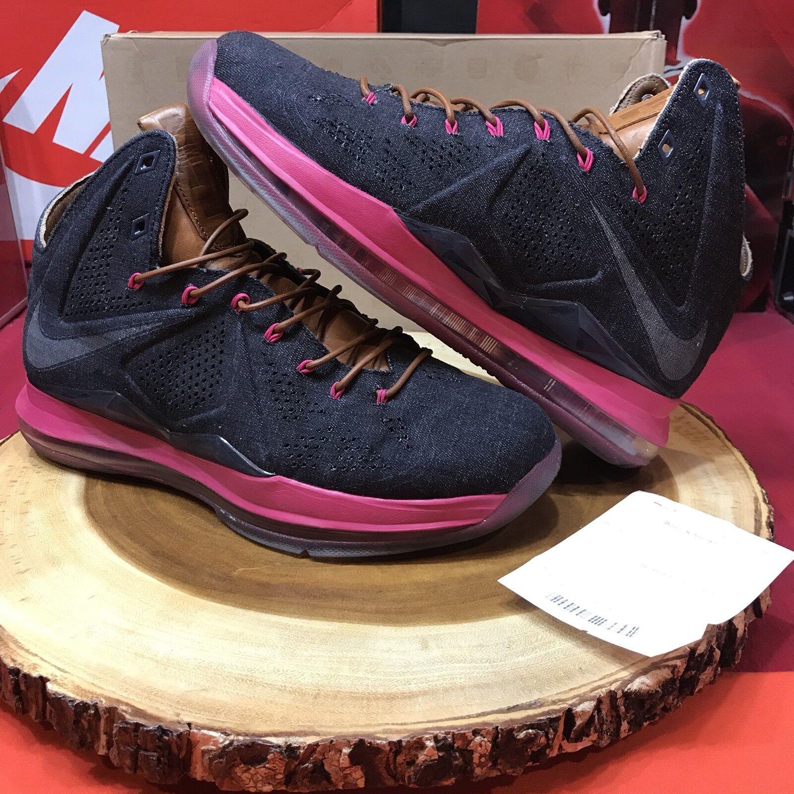 Nike lebron x ext livello denim mezzanotte marina fireberry nocciola taglia 9 597806-400 ix
