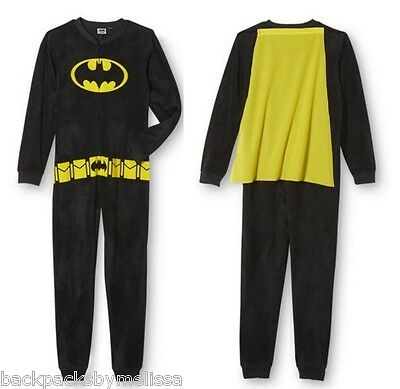 BATMAN Soft Fleece Union Suit Pajamas Men's Medium M NeW One Piece Costume Pjs