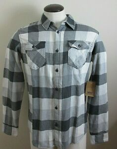 30c51b48b6 Vans Mens Box button up flannel shirt Grey Black White Plaid ...