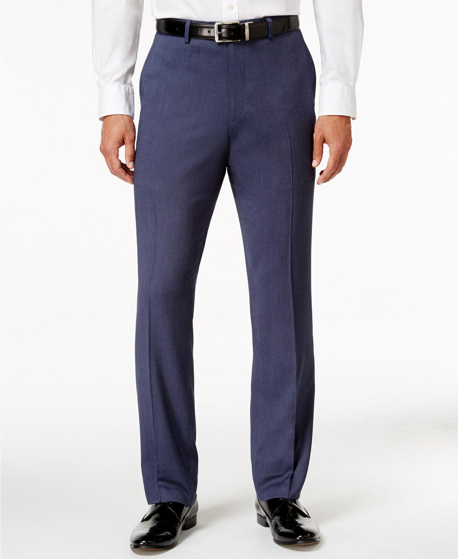 PERRY ELLIS men blueE CASUAL SLIM FIT FRONT FLAT SUIT DRESS PANTS 36 W 40 L
