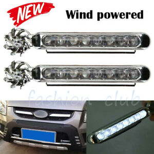 Wind-Power-Car-Grille-8-LED-DRL-Daytime-Running-Fog-Warning-Light-Head-Lamp-12V