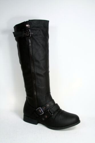 Women/'s Round Toe Zipper Low Flat Heel Knee High Boots Shoes All Size 5-10 NEW
