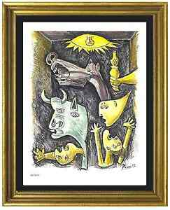 Pablo-Picasso-Signed-amp-Hand-Numbered-Ltd-Ed-034-Guernica-034-Litho-Print-unframed