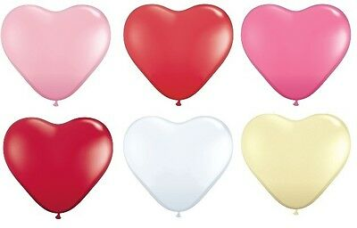 "12 Qualatex 11"" Heart Shaped Latex Wedding or Party Balloons (Helium or Air)"