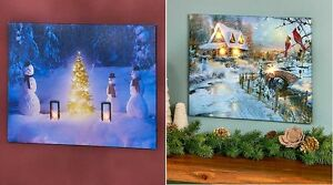 Led Lighted Winter Canvas Wall Art Snowmen Gathering W