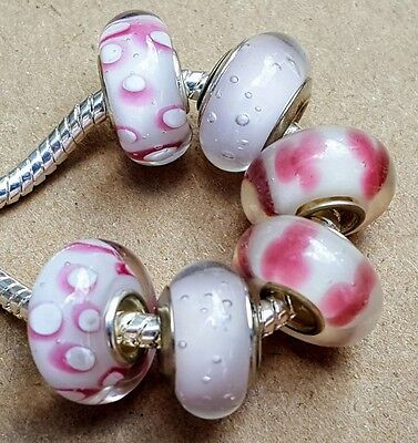 Pink Green Flowers Single Core Glass Bead fits Silver European Charm Bracelets