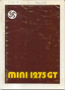 Mini 1275 GT Original Drivers Handbook 1977 No. AKM 3549 4th edition