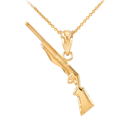 Yellow Gold Shotgun Charm Pendant Necklace