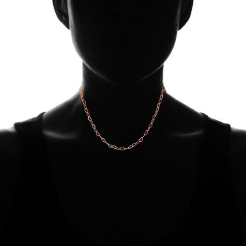 Cœur Lien Chaîne Collier Tour de Cou en Plaqué Or Rose Argent Sterling