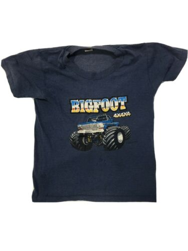 Vintage Child's Bigfoot Shirt Navy Blue 80s Monste