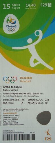 TICKET 15.8.2016 Olympia Rio Handball Men/'s Schweden Brasilien # F29