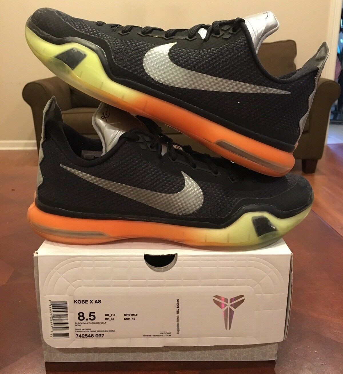 Nike Kobe X 10 AS All Star 8.5 ASG Game Black Volt Jordan Yeezy 1 2 3 4 5 6 7 8