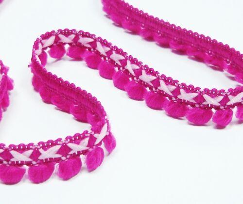 2.30 EUR//Meter *MINI* Bommel pink Pompom Borte Bi-color