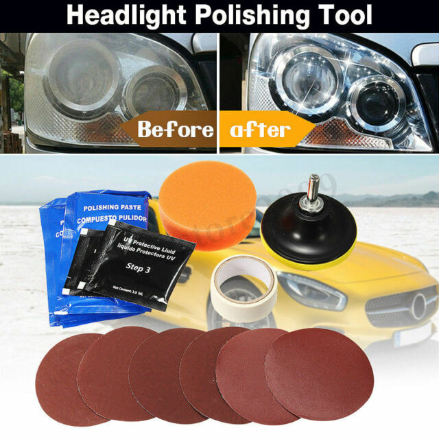 3 Car Headlight Lens Restoration Repair Kit Polishing Cleaner Sandpaper Pads