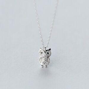 Halskette-mit-Anhaenger-Eule-echt-Sterling-Silber-925-Zirkonia-Damen-Maedchen