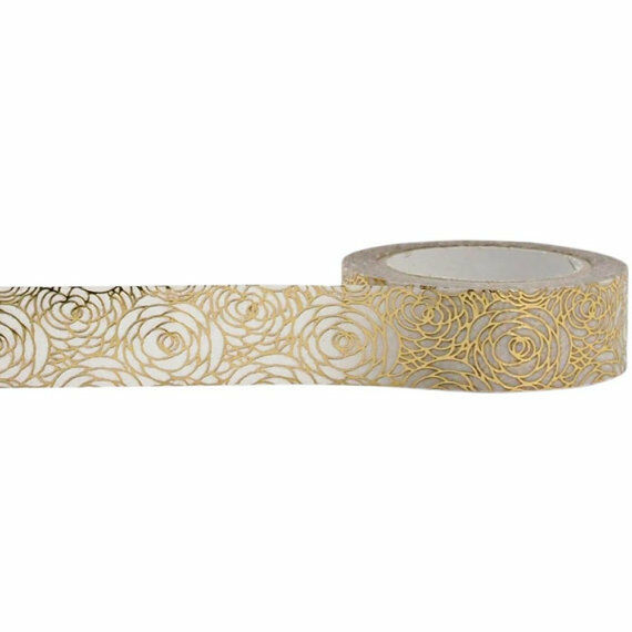 Gold Rose Foil Washi Tape with White Background, 15mm x 10m by Little B