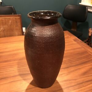 Stoneware-Slender-Vase-STUDIO-MARKED-POTTERY-OXBLOOD-RED