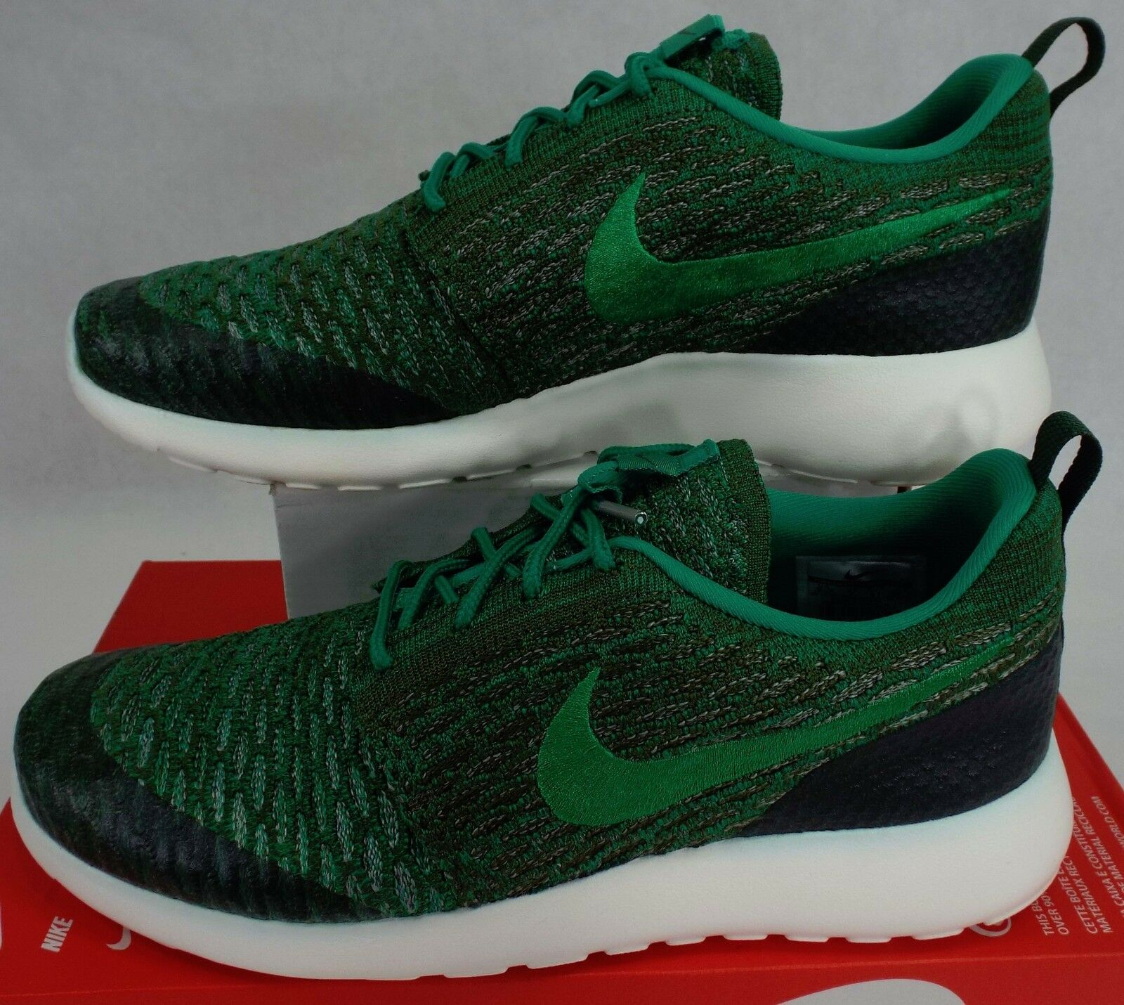 Nuove donne 9 nike roshe uno flyknit green scarpe bianche 704927-303