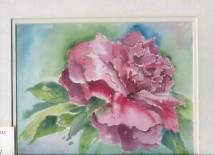 PEONY-PEONIES-GARDEN-FLOWERS-IMPRESSIONISM-MATTED-ARTIST-ORIGINAL-ART-PRINT