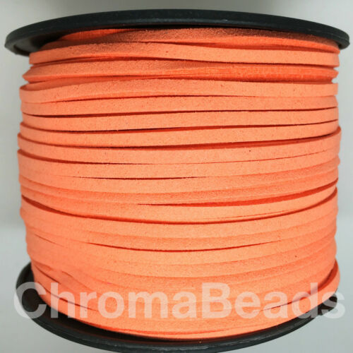 Faux Suede Leather Cord Reel 3mm wide x1.5mm thick approx 90m length spool