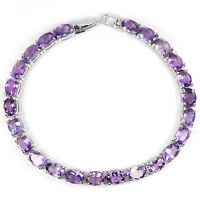 Sterling Silver 925 Genuine Natural Amethyst Oval Faceted Bracelet 7.5 Inches