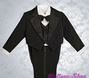 5pc Set Boys Black Formal Tuxedo TUX Suit Vest Wedding Dinner Party Size 4 ST011