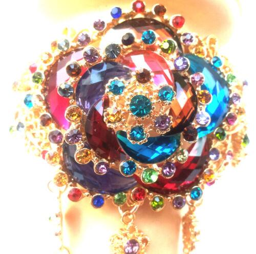 bague réglable,strass multicolor Superbe bracelet ouverture clip sans nickel