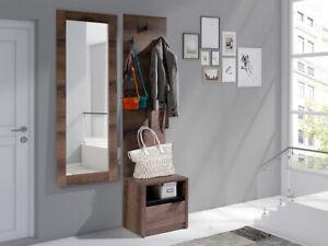 Dettagli su Mobile da ingresso entrata moderno Lipsia marrone cassetto  attaccapanni specchio