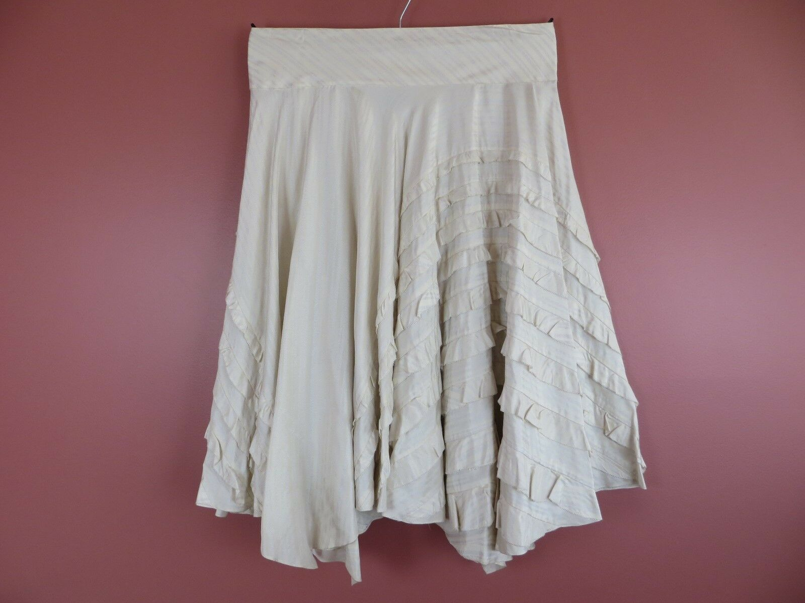 SK13620-DKNY Womens 100% Silk Asymmetrical Maxi Flare Skirt Ruffle Striped Sz 14
