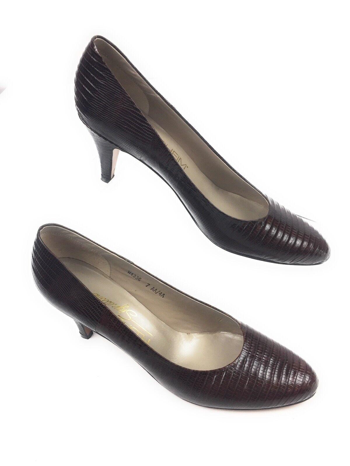 Florsheim Signature Leather Lizard Womens Reptile Embossed Pumps Heels Shoes Womens Lizard 7AA 5a9d4d