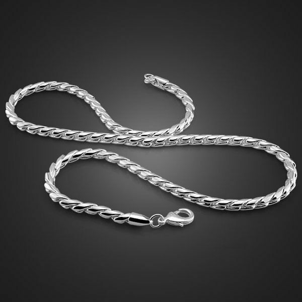 """Classic Solid Sterling Silver Round Snake Chain Men's Necklace 5mm 20"""" PN152"""