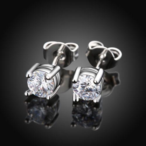 6 mm Hommes Femmes Argent Sterling Post Stud Couronne Zircone Cubique Boucles d/'oreilles cadeau