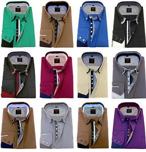 Men-039-s-Plain-Cotton-Shirt-Button-down-Double-collar-Formal-Casual-Long-sleeve