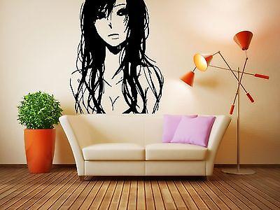 Wall Vinyl Sticker Decals Mural Room Design Art Sad Anime Girl Long Hair  bo646