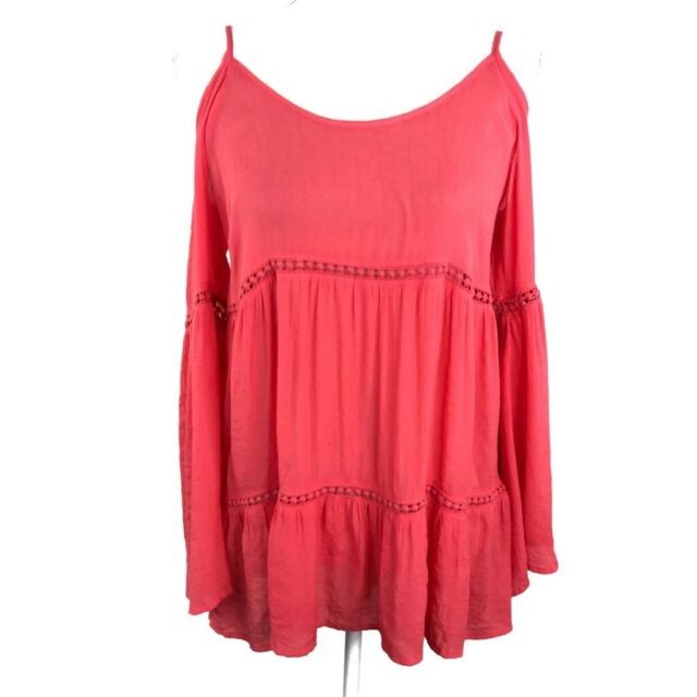 Umgee Women's Boho Babe Blouse Coral Cold Shoulder Bell Sleeves Scoop Neck Top L