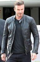 David Beckham Black Motorcycle Genuine Real Leather Biker Jacket - All Sizes