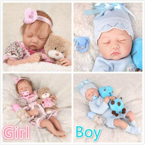 """22/""""Twins Reborn Baby Doll Newborn Lifelike Vinyl Silicone Handmade Toy Girl+Boy"""