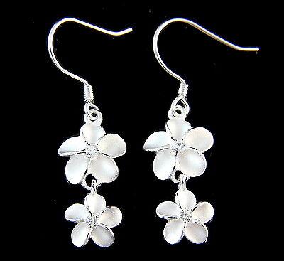 SILVER 925 HAWAIIAN PLUMERIA FLOWER 10MM DANGLE 8MM WIRE HOOK EARRINGS WHITE CZ