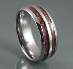 Tungsten-Carbide-Mens-8-mm-Silver-Wedding-Band-Ring-With-Double-Wood-Inlay