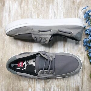 NEW-Quicksilver-Surfside-Shoes-Mens-8-Canvas-Lace-Boat-Shoes-Gray-Casual
