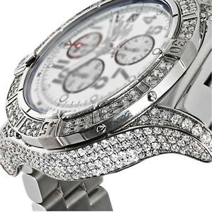 62b63fbf57b Men s Diamond Breitling Super Avenger White Dial A13370 Watch With ...