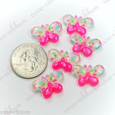 8pcs 22mm Glitter Pink Dot Butterfly Kawaii Flatback Resin Cabochons K08