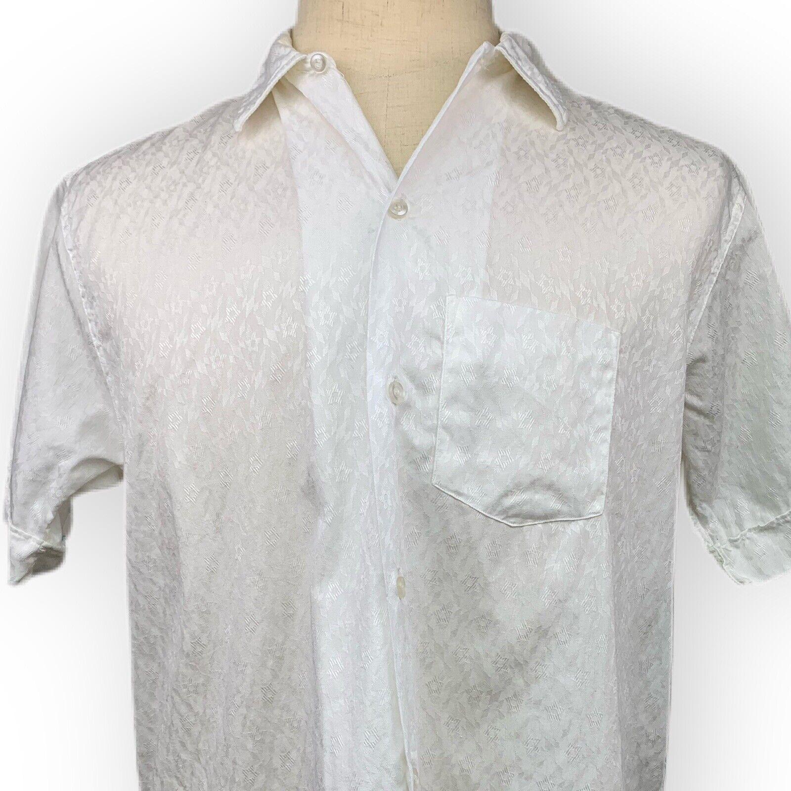 Vintage 60s 70s Mens Shirt L Rockabilly Mr Andres… - image 1