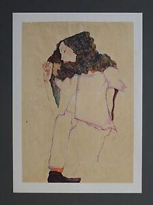 Egon-Schiele-Lichtdruck-Lithograph-Signed-Sleeping-Girl-Gerta-S-1911-Madchen