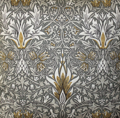Pair of William Morris Snakeshead Pewter /& Gold Lined Curtains 3 Lengths