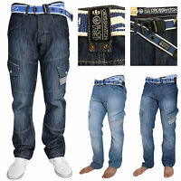 Crosshatch Mens Cargo Combat Classic Straight Fit Denim Jeans Trousers Free Belt